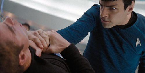 Mr. Spock Strangles James T. Kirk For Wearing That Damn Black Shirt Through the Whole Movie.