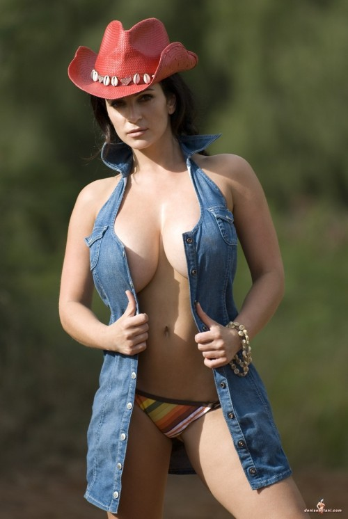 Denise Milani as a Cowgirl. You will see this one again, whenever something comes up that involves cowboys or Marlboro men or whatever.