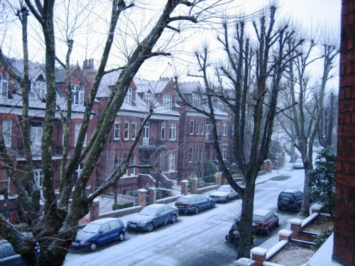 Snow Blankets London for Global Warming Debate.