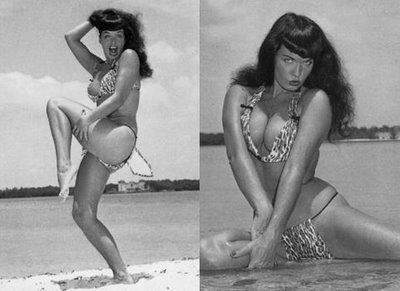 Bettie Page Displaying for Formidable Assets at the Beach.