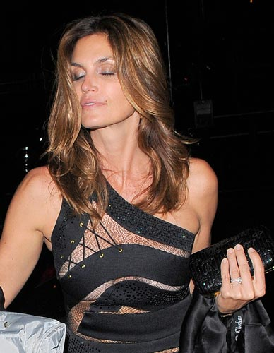 Here is Cindy Crawford in a See Through-ish Dress. Hope that helps.