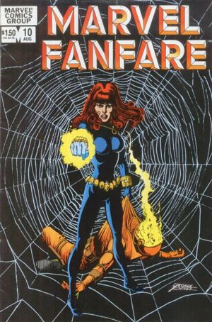 George Perez's Excellent Black Widow Cover to a 1983 Marvel Fanfare.
