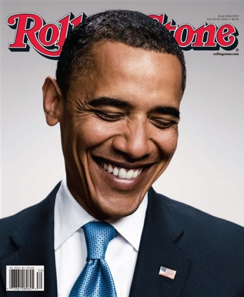 Rolling Stone Decided That a Cover with Barack Obama (with a little American Flag Lapel Pin Photoshopped In) Said All That They Needed To. Ergo, Barack Obama is a God and We should All Worship Him Uncritically. Go to it.