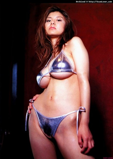 Miri Hanai in a Silvery Too-Small Bikini Thing.