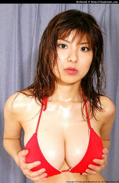 In Red Bikini, A Little Self-Handling Perfectly Completes the Effect. Sweet Miri Hanai. Sweet, Sweet Miri.