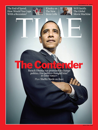 Barack Obama, Looking Serious and Important and Wise on the Cover of Time.