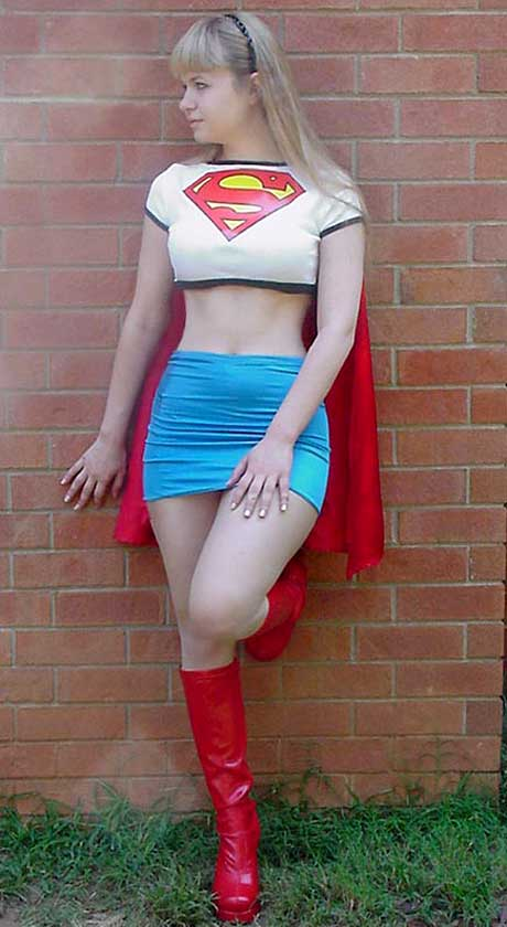 Supergirl in the Classic Late 80s, Early 90s White Cut Off T-Shirt