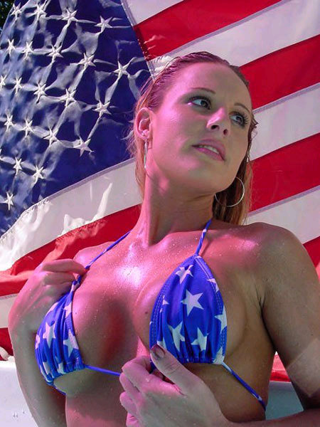 A Gorgeous Wet Women With America Breasts, Thrusting Forward In Her Burning Hot Patriotism.