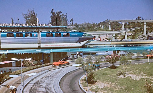 The Classic Disneyland Monorail Crossing the Autopia.