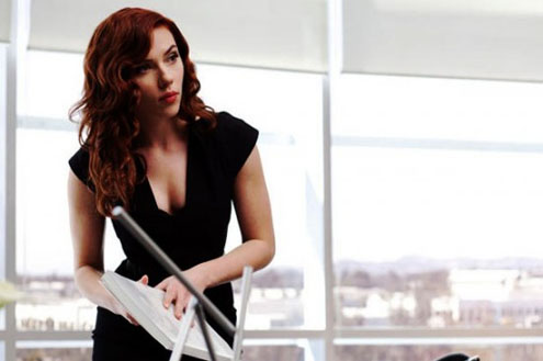 Scarlett Johansson as Natasha Romanoff in Iron Man 2.