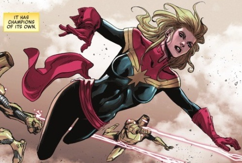 Captain Marvel Fights Thanos in Infinity War